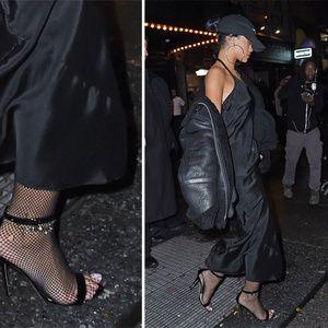 BEBE Black Fishnet Stockings Tights Size M/L -NEW!